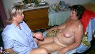 Bulky granny and chunky milf masturbating with