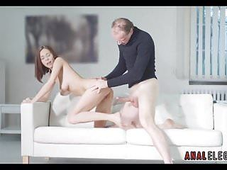 Hawt honey bows over for from behind anal sex