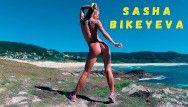 In natures garb russian angel sasha bikeyeva dancing on the shore of the ocean 4k